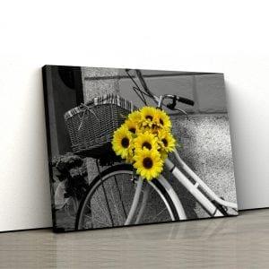 tablou canvas floarea soarelui bicicleta landscape main