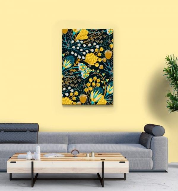 tablou canvas flori galbene portret camera