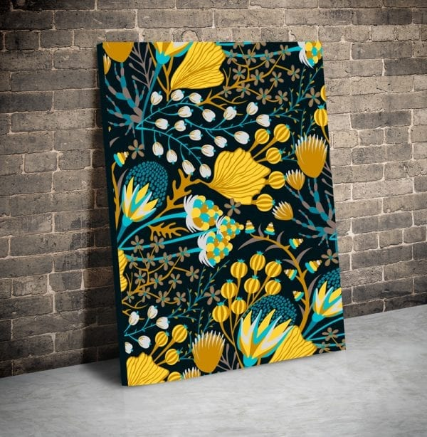 tablou canvas flori galbene portret main
