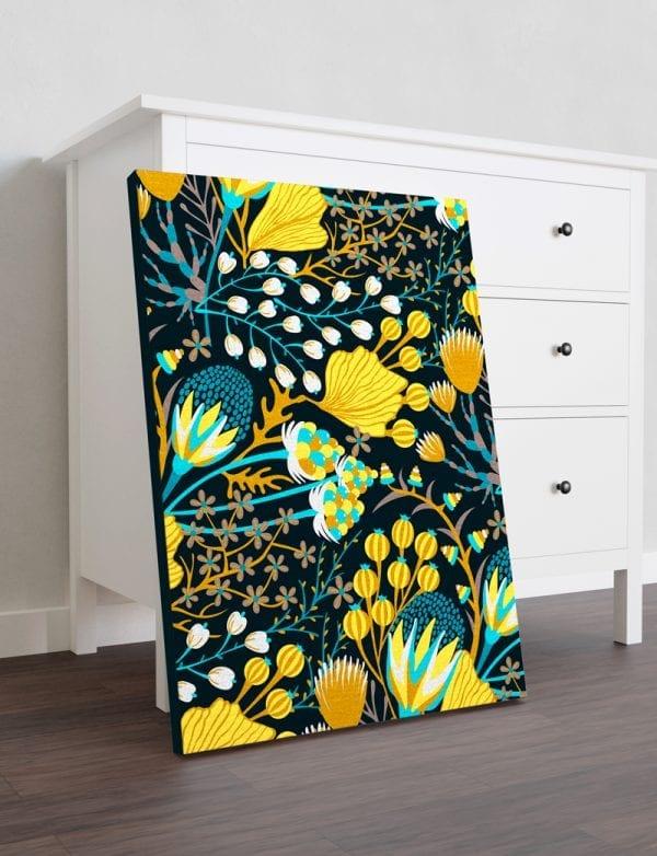 tablou canvas flori galbene portret mediu mobila 1