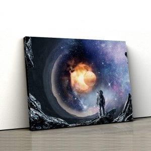 1 tablou canvas Astronaut pe o Planeta