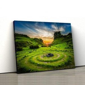 1 tablou canvas Grass Field Sunset UK