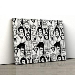 Tablou canvas Oameni alb negru 1