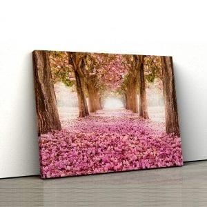 Tablou canvas floral Padure cu covor de petale 1