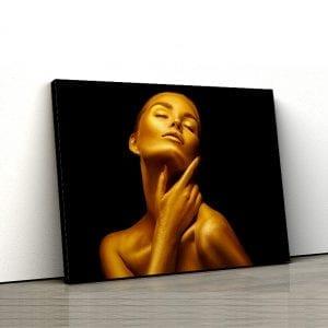tablou canvas landscape main Gold woman