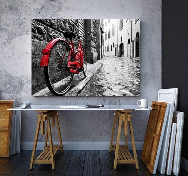 tablou canvas landscape mare birou Tablou canvas bicicleta rosie