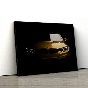 1 tablou canvas BMW M4 F82 auriu pe fundal negru