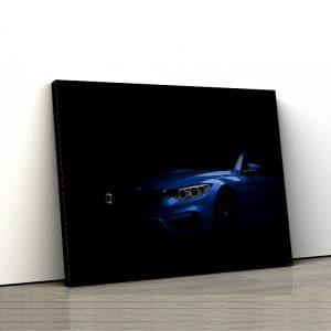 1 tablou canvas Bmw M4 F82 albastru pe fundal negru