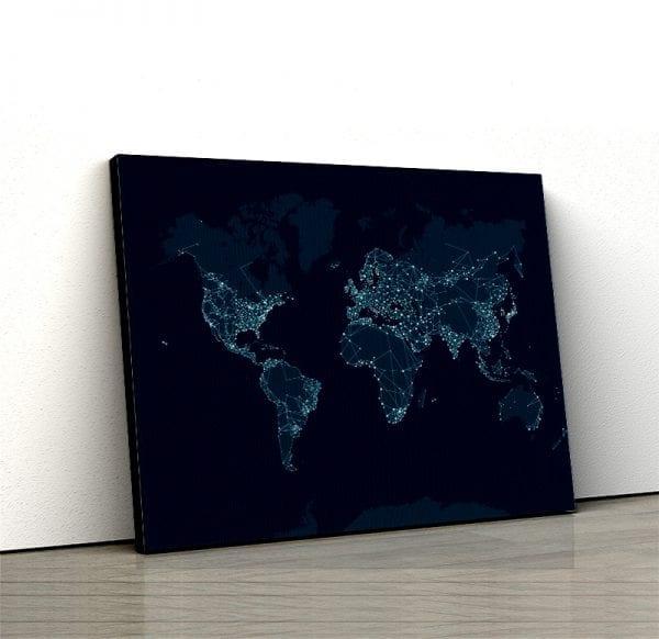1 tablou canvas Harta Lumii Network