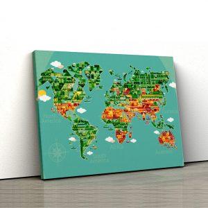 1 tablou canvas Harta lumii cu obiective turistice