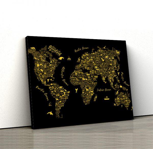 1 tablou canvas Harta lumii gold
