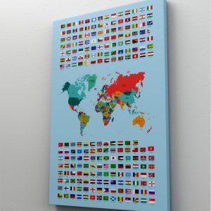 1 tablou canvas Harta steagurile lumii