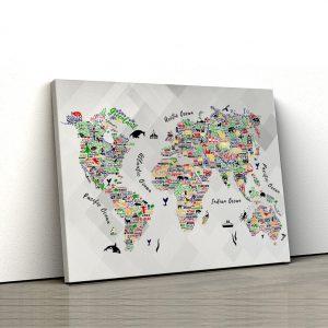 1 tablou canvas Orase si animale colorate