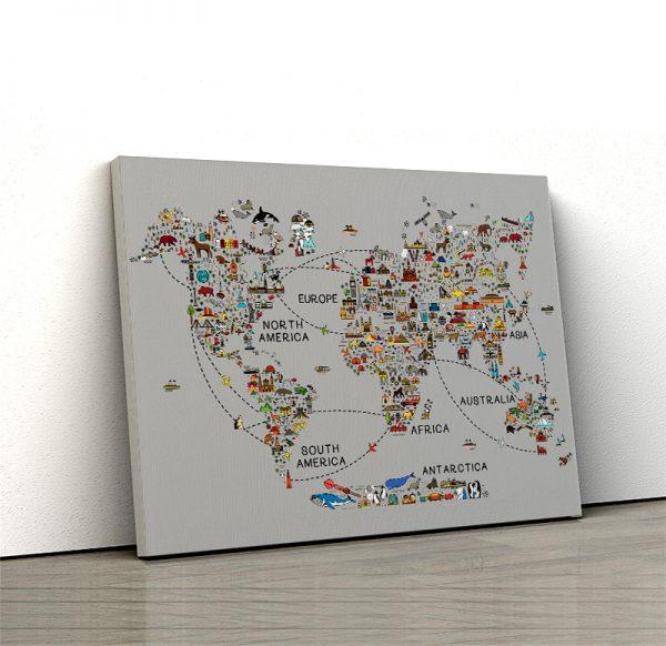 1 tablou canvas World travel map
