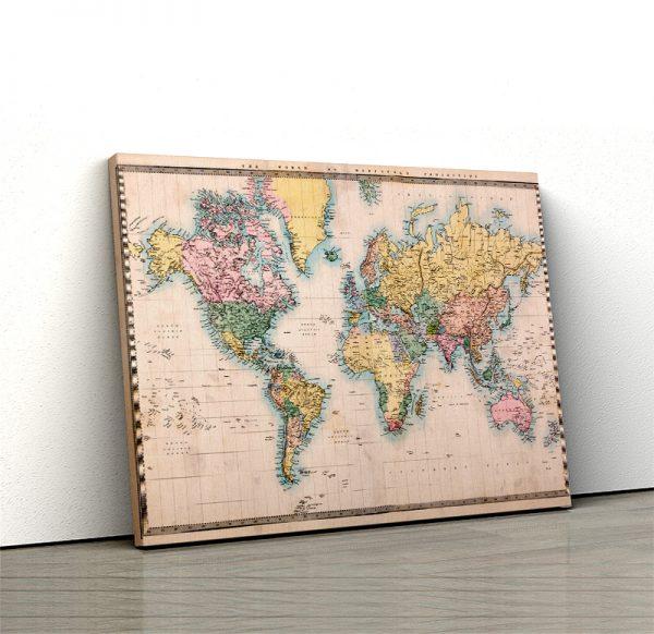 1 tablou canvas harta lumii Vintage