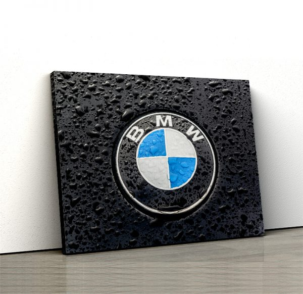 1 tablou canvas logo BMW pe ploaie