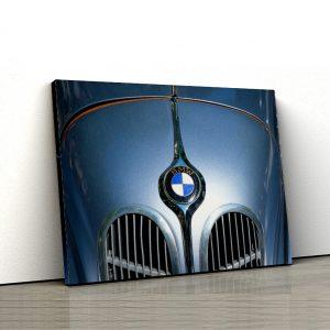 1 tablou canvas logo bmw pe masina clasica