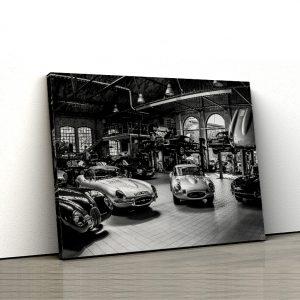 1 tablou canvas masini retro alb negru