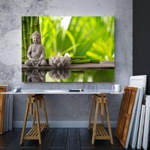 2 tablou canvas Buddha bambus