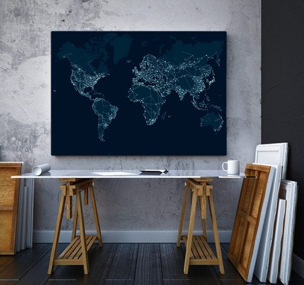 2 tablou canvas Harta Lumii Network