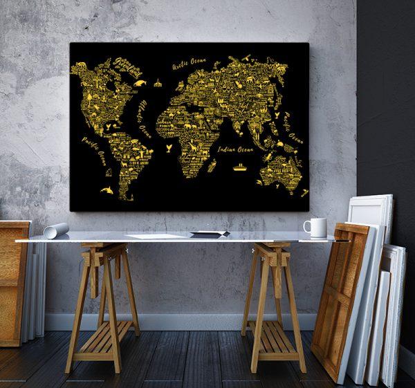 2 tablou canvas Harta lumii gold