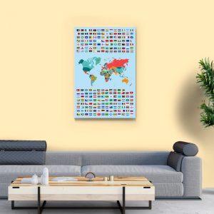 2 tablou canvas Harta steagurile lumii