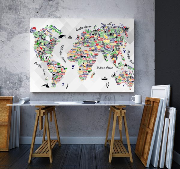 2 tablou canvas Orase si animale colorate