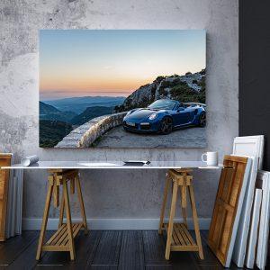 2 tablou canvas Porsche 911 Turbo S Cabriolet blue
