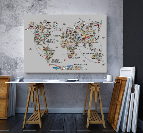 2 tablou canvas World travel map