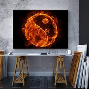 2 tablou canvas Ying Yang de foc