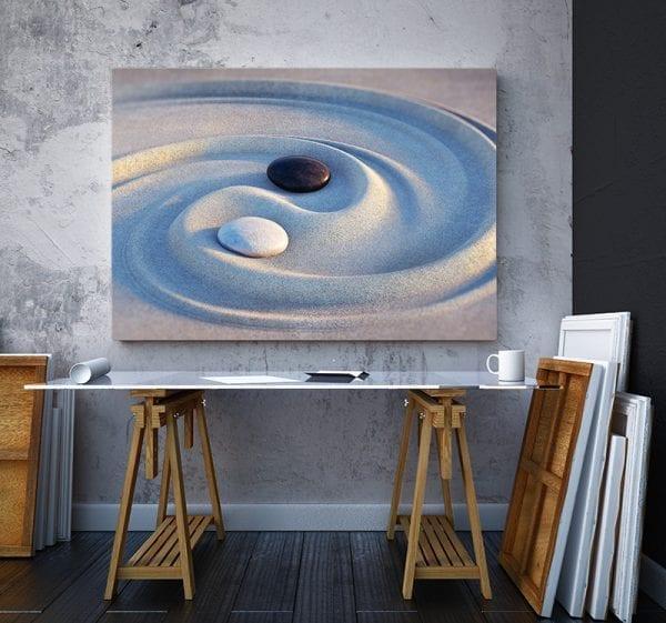 2 tablou canvas Ying Yang in nisip