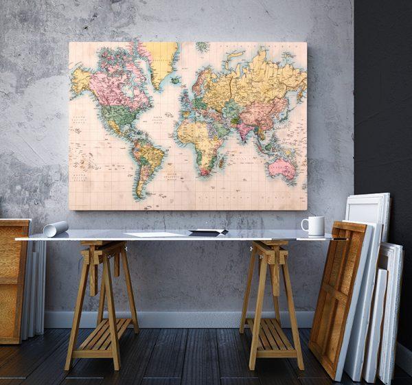 2 tablou canvas harta lumii Vintage