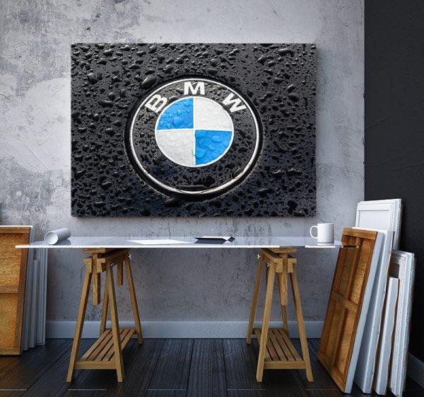 2 tablou canvas logo BMW pe ploaie