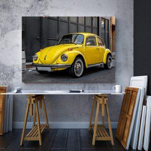 2 tablou canvas yellow volkswagen beetle