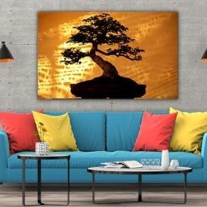 3 tablou canvas Bambus in lumina