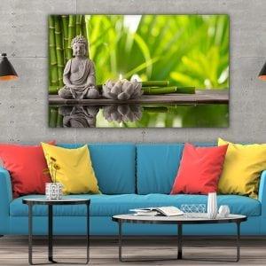 3 tablou canvas Buddha bambus