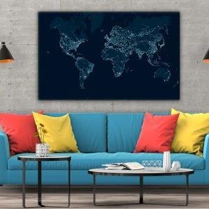 3 tablou canvas Harta Lumii Network