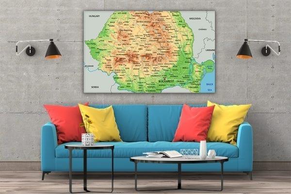 3 tablou canvas Harta Romaniei