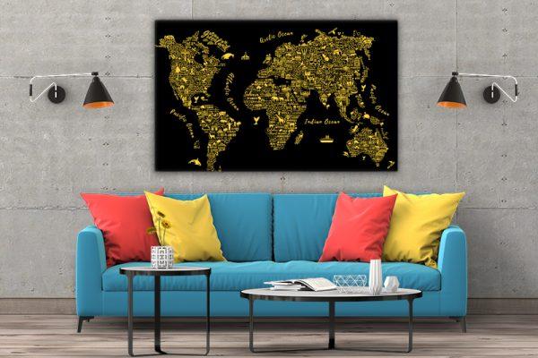 3 tablou canvas Harta lumii gold