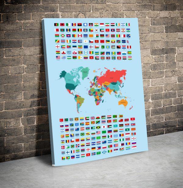 3 tablou canvas Harta steagurile lumii
