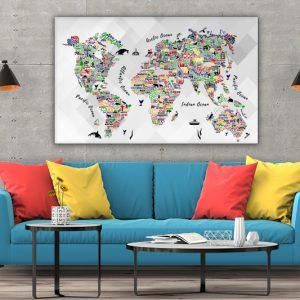 3 tablou canvas Orase si animale colorate