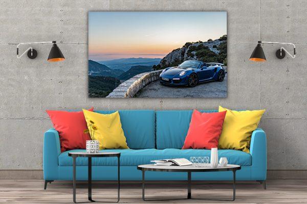 3 tablou canvas Porsche 911 Turbo S Cabriolet blue
