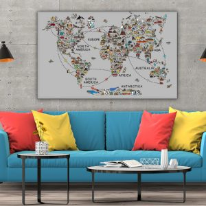 3 tablou canvas World travel map