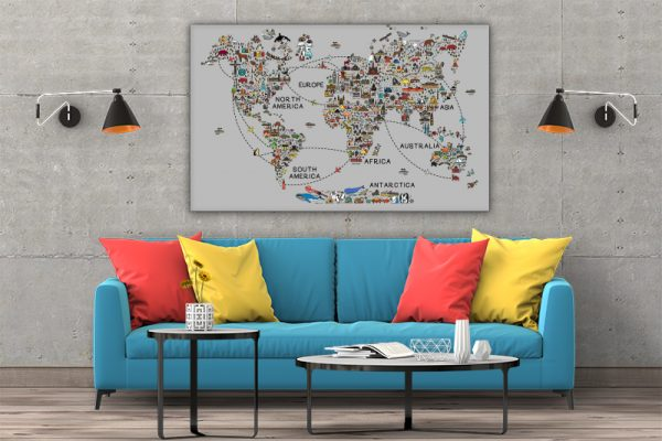 3 tablou canvas World travel map