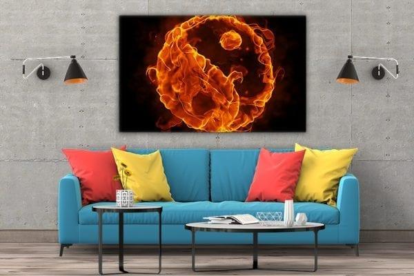 3 tablou canvas Ying Yang de foc