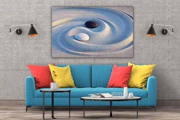 3 tablou canvas Ying Yang in nisip