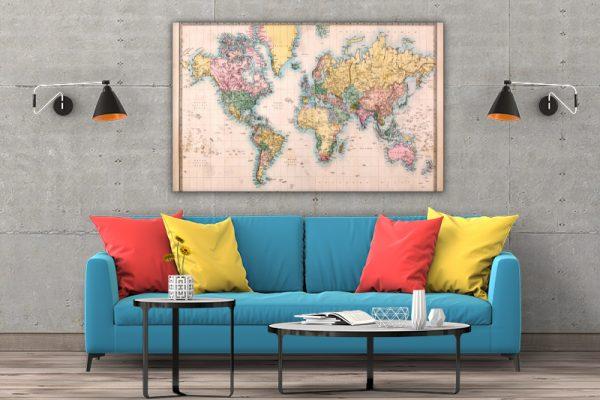 3 tablou canvas harta lumii Vintage