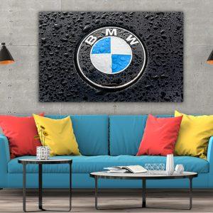 3 tablou canvas logo BMW pe ploaie