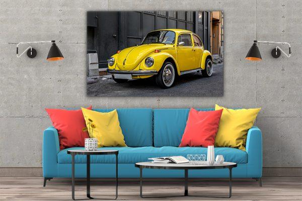 3 tablou canvas yellow volkswagen beetle