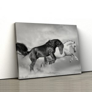 1 tablou canvas Black and white horses